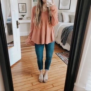 Wild Fable Oversized Coral Waffle Knit Long Sleeve